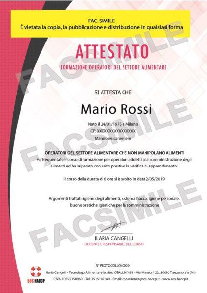 Attestato Haccp FAC-SIMILE